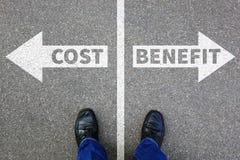 Koszt korzyści straty zysk finansuje pieniężnego sukces firmy busi obraz stock
