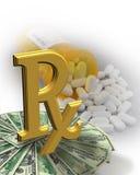 koszt leków pieniądze wysokie pigułki Zdjęcia Stock