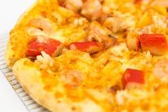 Koszt pizzy owoce morza pudełko ustawia odosobnionego na białym tle zdjęcia royalty free