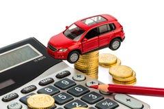 Koszt samochód. z kalkulatorem zdjęcie stock