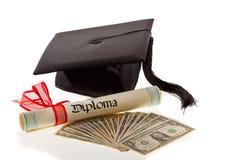 kosztuje dolarów edukaci mortarboard obrazy stock