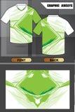 Koszula zieleni projekt z deseniowym ilustracyjnym wektorem Zdjęcia Stock