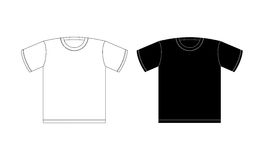 Koszulka czarny i biały na białym tle Ubraniowy wzór Zdjęcia Royalty Free