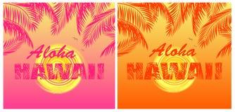 Koszulka druków tropikalna różnica z Hawaje literowaniem, słońce, pomarańcze i menchia palmowi liście na gorącym summery tle Aloh ilustracja wektor