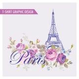 Koszulka Kwiecisty Paryski Graficzny projekt ilustracja wektor