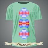 Koszulka projekt z kolorową abstrakcjonistyczną ilustracją z trójbokiem Zdjęcia Royalty Free