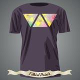 Koszulka projekt z kolorową abstrakcjonistyczną ilustracją z trójbokiem Obraz Royalty Free