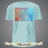 Koszulka projekt z kolorowym kwadratowym kształtem z abstrakcjonistyczną mozaiką a Obrazy Stock