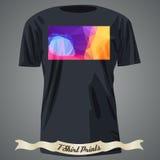 Koszulka projekt z kolorowym kwadratowym kształtem z abstrakcjonistyczną mozaiką a Fotografia Royalty Free