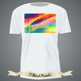 Koszulka projekt z kolorowym kwadratowym kształtem z abstrakcjonistyczną mozaiką a Fotografia Stock