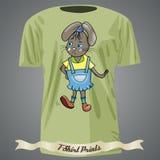 Koszulka projekt z kolorystyki książką z kreskówką królik dziewczyna wewnątrz Zdjęcie Stock