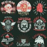 Koszulka stemplowy graficzny set, Kalifornia sporta odzieży typografii emblemata set wektor ilustracji