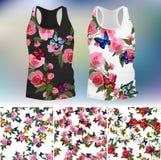 Koszulka z modnym różanym i motylim projektem Zdjęcie Royalty Free