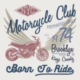 Koszulki typografii projekt, motocyklu wektor, NYC drukowe grafika, typograficzna wektorowa ilustracja, Nowy Jork jeźdzów grafiki Fotografia Royalty Free