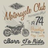 Koszulki typografii projekt, motocyklu wektor, NYC drukowe grafika, typograficzna wektorowa ilustracja, Nowy Jork jeźdzów grafiki Obraz Royalty Free