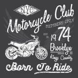 Koszulki typografii projekt, motocyklu wektor, NYC drukowe grafika, typograficzna wektorowa ilustracja, Nowy Jork jeźdzowie grafi Obraz Stock