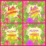 Koszulowa lat tło różnica z Hawaje Aloha i Cześć lata literowanie, tropikalni liście, gorący słońce i egzotów kwiaty dl ilustracja wektor