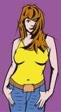 koszulowy dziewczyny kolor żółty t Zdjęcie Royalty Free
