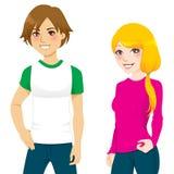 koszulowy para nastolatek t Zdjęcia Royalty Free