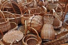 koszy udziału rocznika weave wicker Obrazy Royalty Free