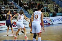 Koszykówek kobiety 21.10.2012, miasto Orenburg, Sou Zdjęcie Royalty Free