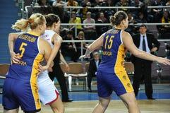 Koszykówek kobiety 21.10.2012, miasto Orenburg, Sou Zdjęcia Royalty Free
