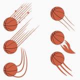 Koszykówek latające piłki ustawiać z prędkość ruchem wlec Graficzny projekt dla sporta loga wektor Fotografia Stock