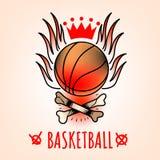 Koszykówka emblemat w stylu tradycyjnego tatuażu royalty ilustracja