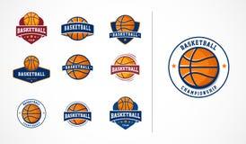 Koszykówka logo, emblemat, ikon kolekcje, wektorowi szablony ilustracja wektor
