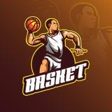 Koszykówka logo projekta wektorowa maskotka z nowożytnym ilustracyjnym pojęcie stylem dla odznaki, emblemata i tshirt druku, kosz ilustracji