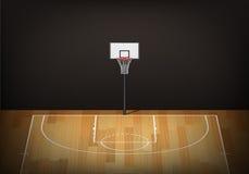 Koszykówka obręcz na pustym drewnianym sądzie ilustracja wektor