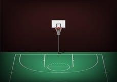 Koszykówka obręcz na pustym zieleń sądzie ilustracja wektor