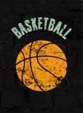 Koszykówka rocznika grunge stylu plakat retro ilustracyjny wektora Obraz Stock