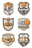 Koszykówka sporta gemowe ikony, wektor ilustracji