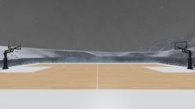 Koszykówka w zimie. Zdjęcie Stock