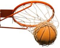 Koszykówki ciupnięcia balowy kosz na białym tle Zdjęcie Stock