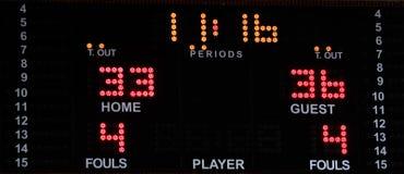 Koszykówki elektroniczna tablica wyników z jaskrawymi liczbami zdjęcia royalty free
