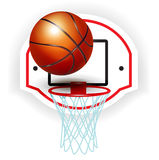 Koszykówki piłka pierścionek i Zdjęcia Royalty Free