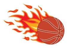 Koszykówki piłka w ogieniu Zdjęcia Stock