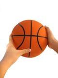 koszykówki ręki odosobniony biel Obrazy Stock