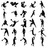 Koszykówki sylwetki set ilustracji