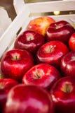 Koszykowa Drewniana skrzynka Świeża Czerwona jabłko trzonu sprzedaży ostrości płycizna Zdjęcia Stock