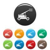 Koszykowe ikony ustawiający dźwignięcie ciężarówki kolor royalty ilustracja