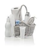 koszykowego kosmetyków hairbrush papierowy ręcznik Obraz Royalty Free