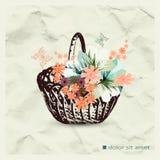 koszykowi kwiaty odizolowywali biel Ilustracja Wektor