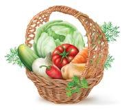 Koszykowi warzywa Obrazy Royalty Free