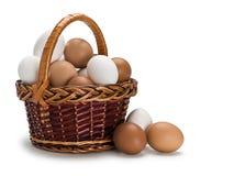 Koszykowy pełny biali i brown jajka Obraz Stock