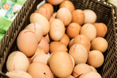 Koszykowy pełny oceneni brown jajka Zdjęcia Stock