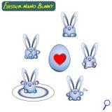 koszykowy rysunkowy Easter jajek wektor Ślicznych nano królików mechaniczni asystenci Żelazny jajko z sercem Set zając roboty Obraz Stock
