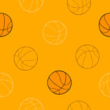 Koszykówka sporta graficznej sztuki balowego pomarańczowego tła bezszwowa deseniowa ilustracja Zdjęcie Royalty Free